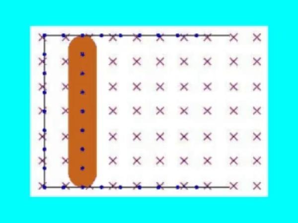 Faraday_2: Corriente eléctrica inducida en una espira rectangular situada de forma perpendicular a un campo magnético uniforme