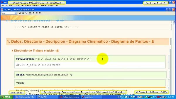 Solución Cinemática Simbólica a_c_0683 con Mathematica -B- 1 de 6