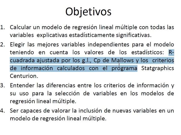 Selección de modelos de regresión lineal múltiple con Statgraphics