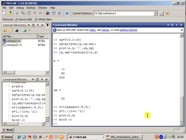 Tema 5. Interpolación polinómica. Error de interpolación (y 2). Ejemplo Función de Runge con nodos equiespaciados.