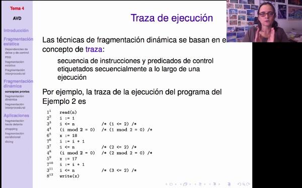 AVD - Fragmentación dinámica: traza y dependencias