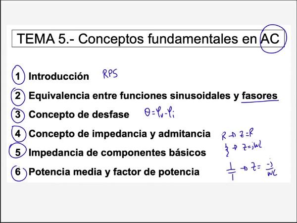 Teoría de Circuitos 1. Lección 5. 6-2 Potencia media en los elementos básicos