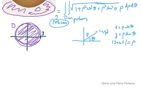 Ejercicio de cálculo de área de superficie en el espacio por integración doble con cambio a polares parte 2