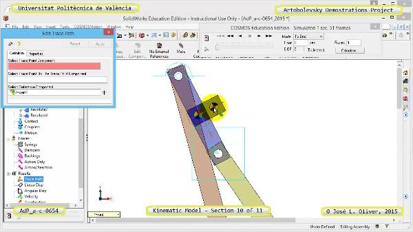 Simulación Mecanismo a-c-0654 con Cosmos Motion - 10 de 11