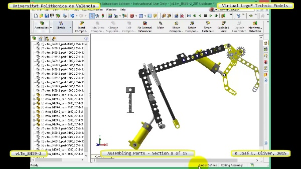 Montaje Modelo Lego Technic 8459-2 con Solidworks ¿ 08 de 15