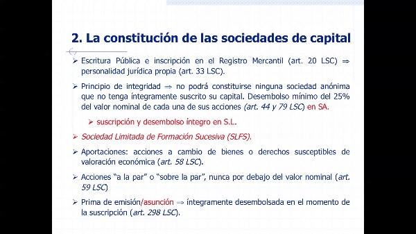 CONSTITUCIÓN DE SOCIEDADES DE CAPITAL