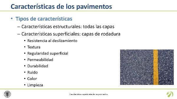 Características superficiales de los pavimentos