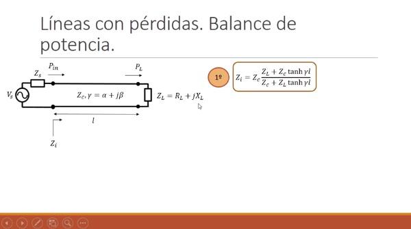 Fundamentos de transmisión. Tema 4.5.4. Líneas con pérdidas. Balance de potencias.