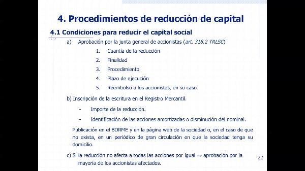 Procedimientos de reducción de capital