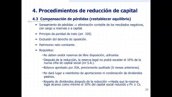 Reducción de capital por compensación de pérdidas