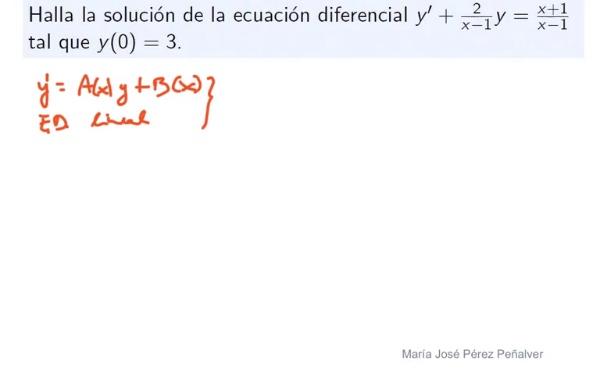 Ejercicio de ecuación diferencial lineal con condición inicial