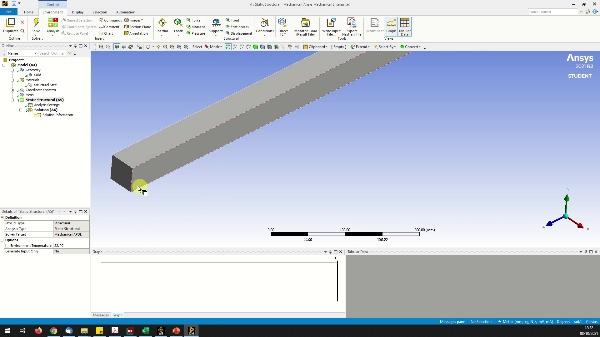 Simulación viga biapoyada con carga centrada (ANSYS)