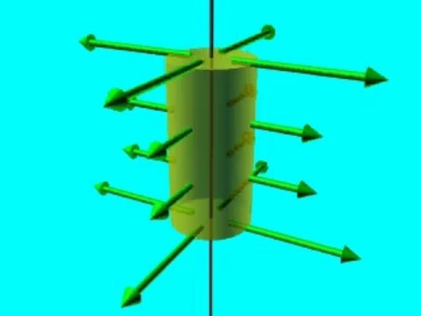 GaussH_4: Vector diferencial de superficie sobre la superficie en la que se aplicará el teorema de Gauss a un hilo conductor infinito