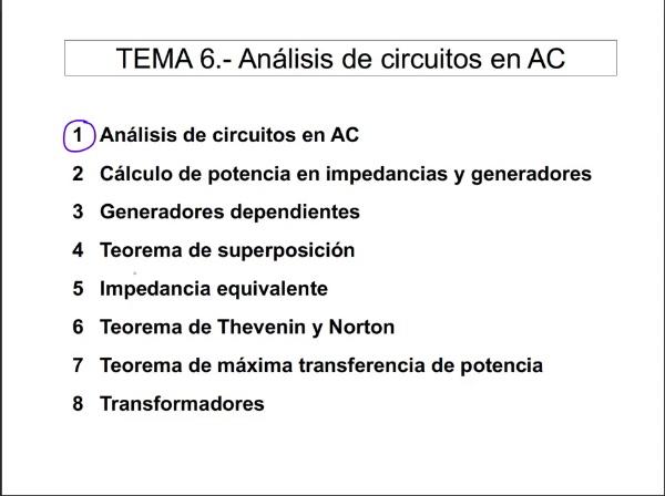 Teoría de Circuitos 1. Lección 6. 1-2 Procedimiento de análisis de circuitos en AC