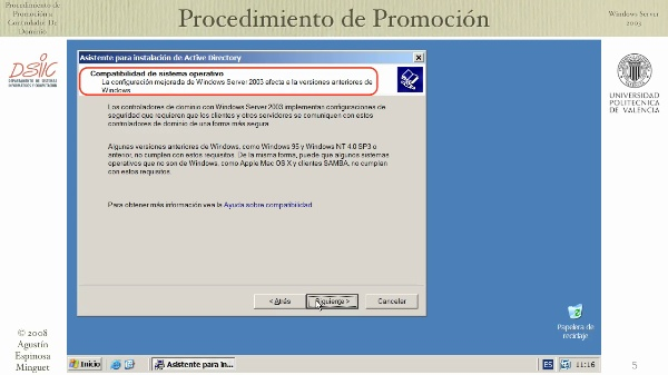 Windows Server 2003: promoción a controlador de dominio