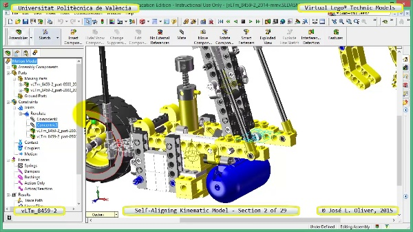 Simulación Cinemática Lego Technic 8459-2 con Cosmos Motion ¿ 02 de 29