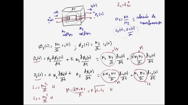 Teoría de Circuitos 1. Lección 6. 8-2 Ecuaciones relación tensiones en un transformador
