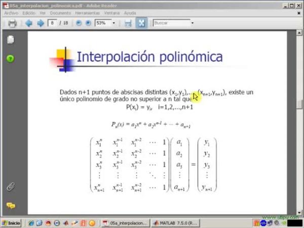 Tema 5. Interpolación polinómica. Interpolación polinómica en general. Programa Interpol