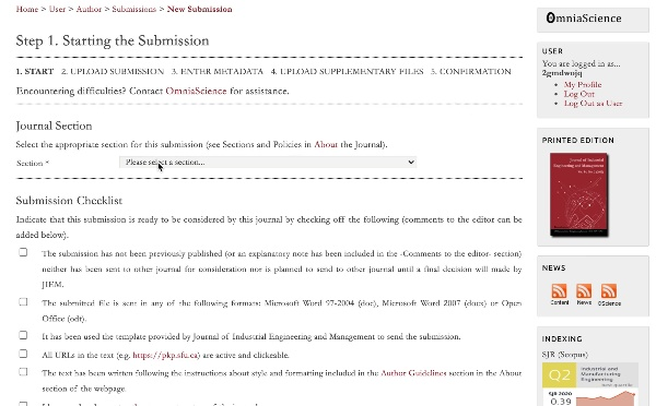 Upload submissions to Special issues or regular issues JIEM