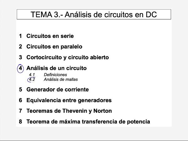 Teoría de Circuitos: 3.4.2.e.- Análisis de mallas. Ejercicio