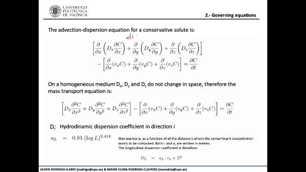 02.06.- Analytical solutions of the mass transport equation