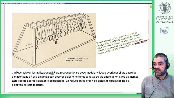 Modelado dinámico de las vibraciones longitudinales de un muelle (parám. distribuidos) mediante discretización espacial