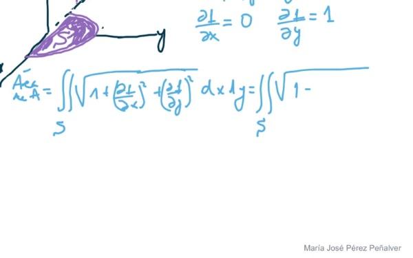 Ejercicio de cálculo de áreas superficies en el espacio por integración doble en coordenadas cartesianas
