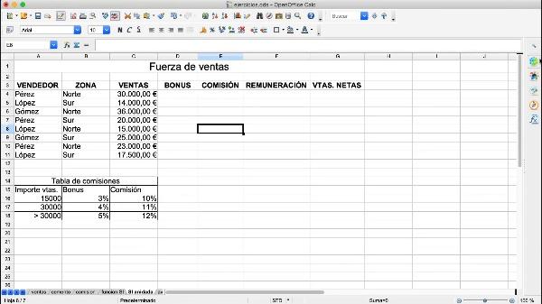 OpenOffice Calc: Uso de funciones SI anidadas