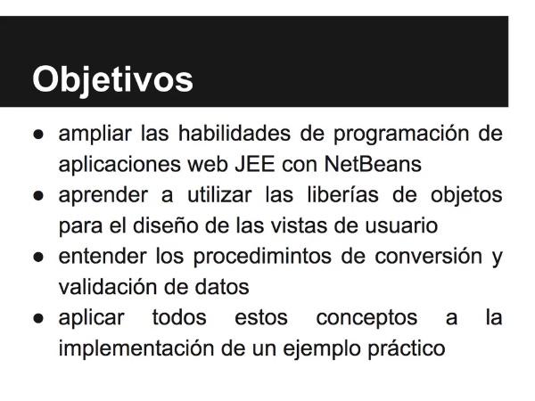 Implementación de una aplicación web JSF con conversión y validación de datos