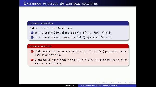 Extremos de funciones de Varias Variables