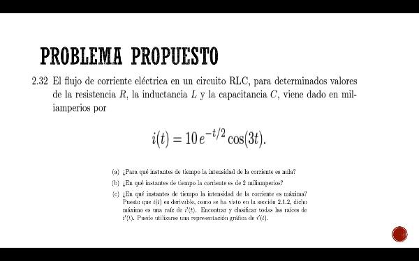 Estudio numérico de la corriente electrica en un circuito RLC