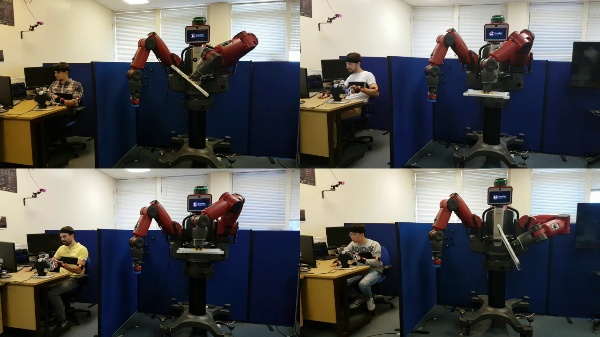Haptic and Visual Feedback Assistance for Dual-Arm Robot Teleoperation in Surface Conditioning Tasks - Full