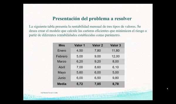 Programación Multiobjetivo No Lineal con Excel. Carteras Eficientes: Modelo de Markowitz
