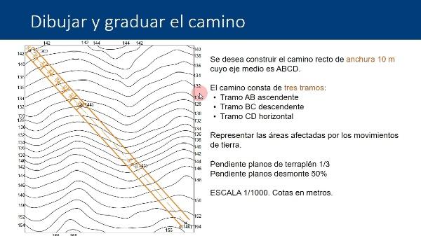 Sistema de planos acotados. Procedimiento de cálculo de movimiento de tierras en caminos inclinados a pendiente constante
