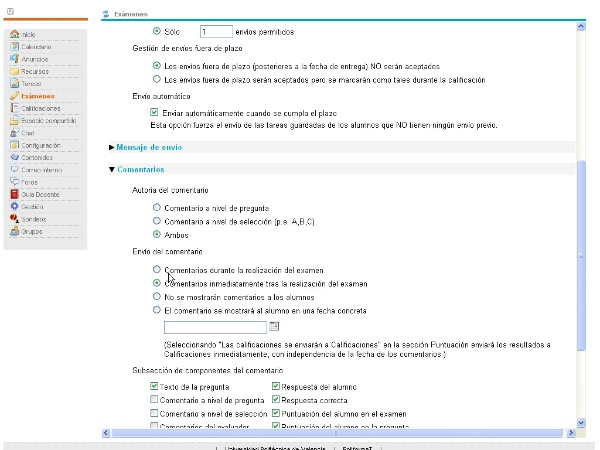 Configuración de exámenes en PoliformaT