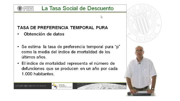 B10. Cálculo de la Tasa de descuento social. Tasa de preferencia temporal pura