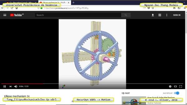Simulación Cinemática Tang_EllipseMechanism3cInv-6p-v8r5 con Recurdyn - EngTa