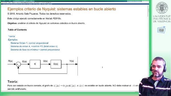 Criterio de estabilidad de Nyquist: ejemplo Matlab (sistemas estables en bucle abierto)