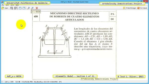 Simulación Mecanismo a-c-0654 con Cosmos Motion - 01 de 11
