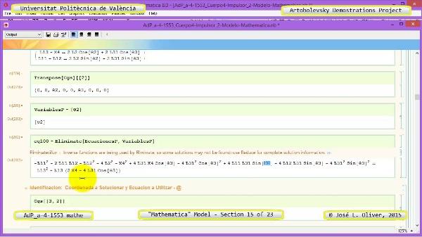 Solución Cinemática Simbólica a-4-1553 con Mathematica - 15 de 23 - Modelo Mathematica ¿ Revisión