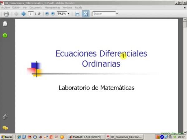 Tema 8. Ecuaciones diferenciales ordinarias. Introducción a los problemas de valor inicial. Ejemplo.