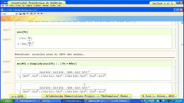 Solución Cinemática Simbólica a_z_1196 con Mathematica - 3 de 5