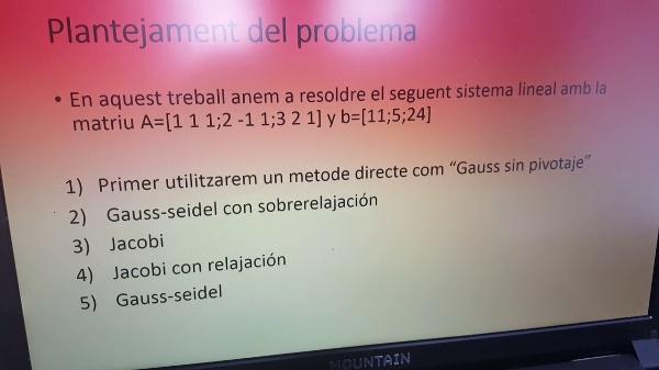 Resolució d'un sistema lineal per Gauss,Jacobi i Gauss-Seidel.