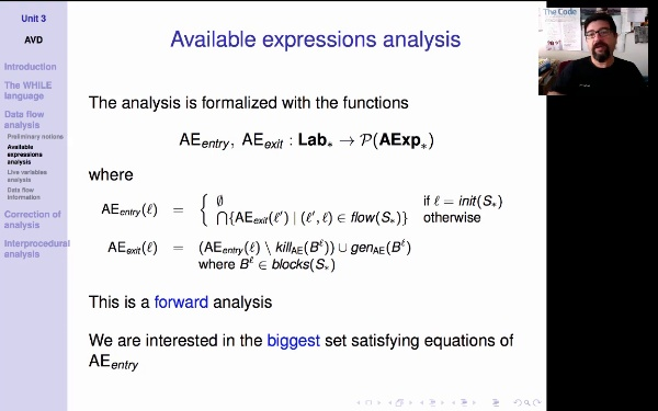 AVD. Unit 3. Available expressions analysis: functions AEentry and AEexit