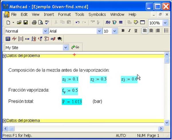Resolución con Mathcad de sistemas de ecuaciones no lineales
