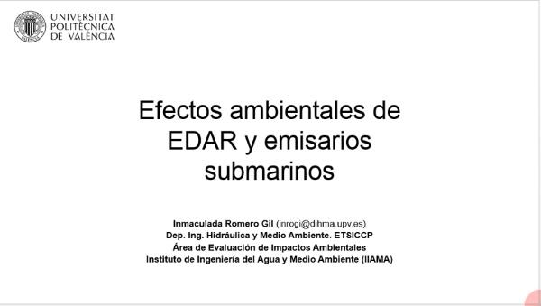 Efectos ambientales de EDAR y emisarios submarinos