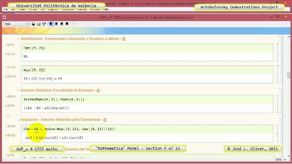 Solución Cinemática Simbólica a-4-1553 con Mathematica - 09 de 23 - Modelo Mathematica