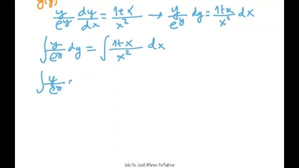 Ejercicio de ecuación diferencial de variables separables 2