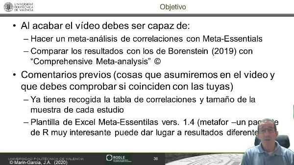 Obtener la estimación de la correlación (sin atenuar) entre dos variables usando meta-essentials versión 1.4