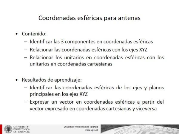 Coordenadas esféricas para el estudio de antenas
